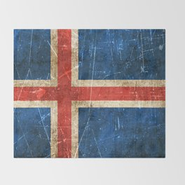 Vintage Aged and Scratched Icelandic Flag Throw Blanket