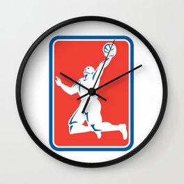 Basketball Player Rebounding Lay-Up Ball Rectangle Wall Clock