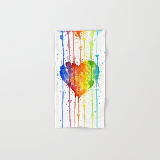 Heart Rainbow Watercolor Love Wins Colorful Splatters Hand & Bath Towel