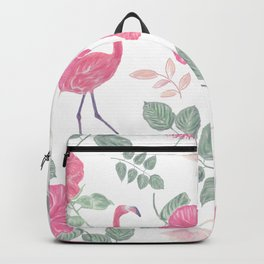 Seamless floral pattern with flamingo birds. Endless texture Backpack