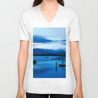 buddhism V-neck T-shirts featuring BLUE VIETNAMESE MEDITATION  by CAPTAINSILVA