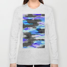 purple blue and black painting texture abstract background Long Sleeve T-shirt