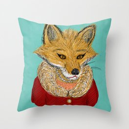 Sophisticated Fox Art Print Throw Pillow