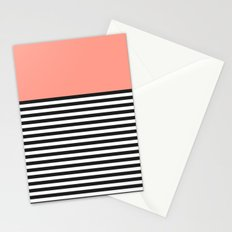 STRIPE COLORBLOCK {CORAL} Stationery Cards