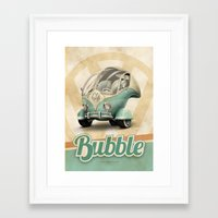 "volkswagen Framed Art Prints featuring Volkswagen ""Bubble"" by Marcelo Schultz"