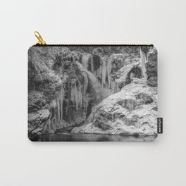 Black and White Frozen Bled Gorge Waterfall Carry-All Pouch