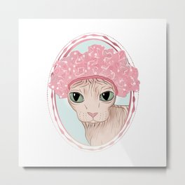 Hairless Sphynx Cat in a Pink Shower Cap  Metal Print