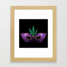 Mardi Gras Mask Purple Green Gold Sparkles Framed Art Print