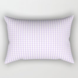 Chalky Pale Lilac Pastel and White Mini Gingham Check Plaid Rectangular Pillow