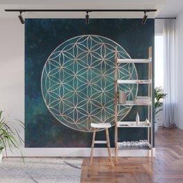 Mandala Flower of Life Rose Gold Space Stars Wall Mural
