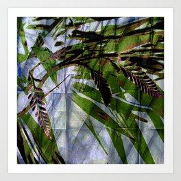 Crocosmia Shimmer in Sky, Leaf, Bronze Art Print
