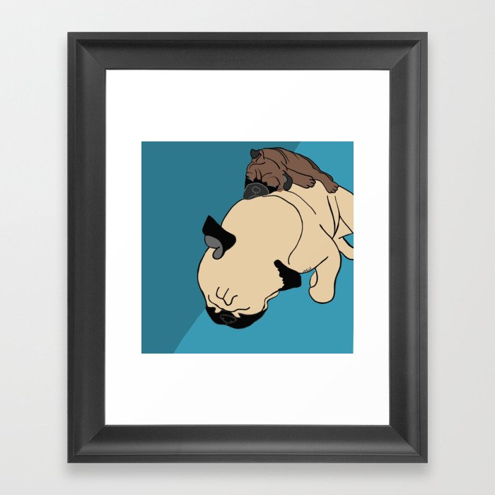 Pug and puppy napping Framed Art Print