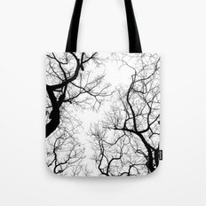 Black and white tree top silhouettes... Tote Bag