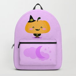 Halloween pumpkin in witch costume Backpack