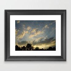 August skies falling into dark Framed Art Print