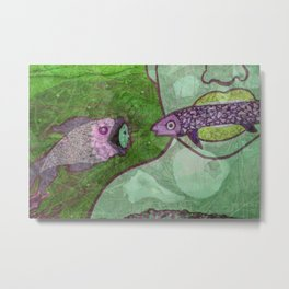 Marine Encounters [Green Version with Seashells] Metal Print