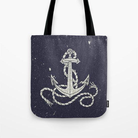 Navy Blue Nautical White Anchor for Sailor Texture Tote Bag