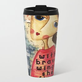 Coco's Closet- With Brave Wings She Flies Metal Travel Mug