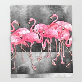 Flamingo Collage in Watercolor and Ink Throw Blanket