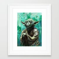 yoda Framed Art Prints featuring YODA by Tom Deacon