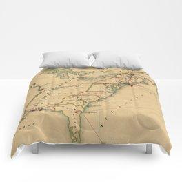 Vintage British Occupation Map of America (1765) Comforters