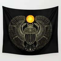 mythology Wall Tapestries featuring Sacred Scarab (v2) by Barruf