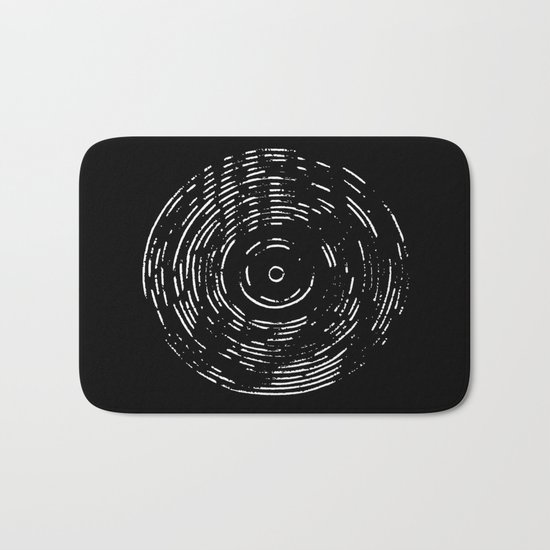 Record White on Black Bath Mat