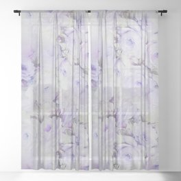 Vintage lavender gray botanical roses floral Sheer Curtain