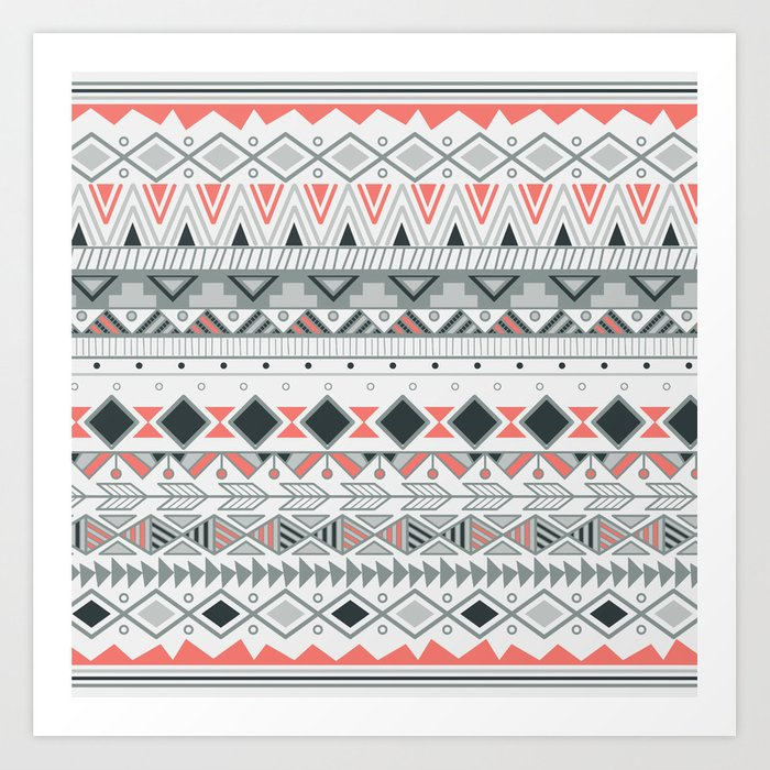 Aztec Tribal Pattern In Stripes Vector Illustration Art Print By Unique Aztec Tribal Pattern