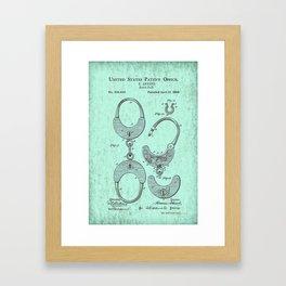 Handcuff Patent Design - Circa 1880 Framed Art Print