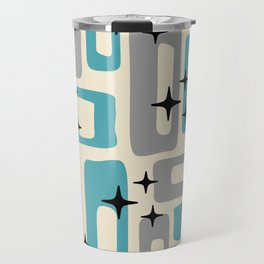 Retro Mid Century Modern Abstract Pattern 223 Blue and Gray Travel Mug