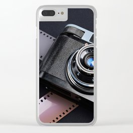 Vintage camera and films on black Clear iPhone Case
