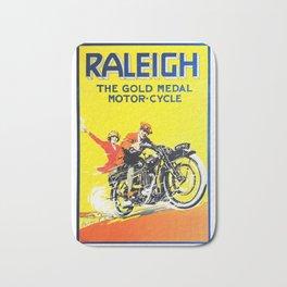 Raleigh Motorcycle, vintage poster Bath Mat