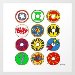 Superhero Donuts Art Print