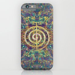 Gold Choku Rei Symbol and Reiki Precepts iPhone Case