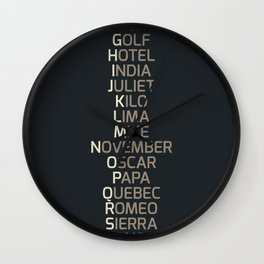 Phonetic Alphabet Wall Clock