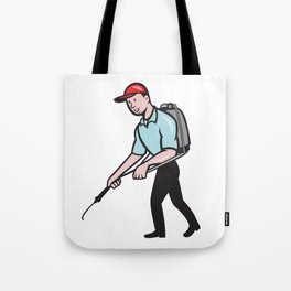 Pest Control Exterminator Spraying Cartoon Tote Bag