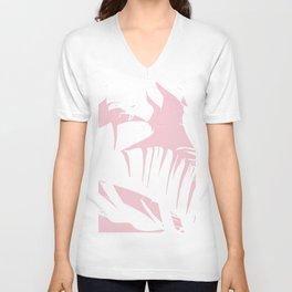 White on Pink Tropical Banana Leaves Pattern Unisex V-Neck