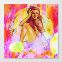 "tatoo Canvas Prints featuring "" Miss tatoo ""  by shiva camille"