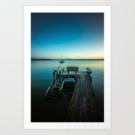 blue hour at the lake Art Print