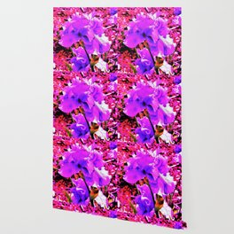 Abstract Ultra Violet Purple Iris on Red and Pink Wallpaper