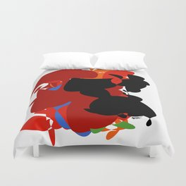 Red Black Forest Colorful Abstraction Digital Art - RegiaArt Duvet Cover