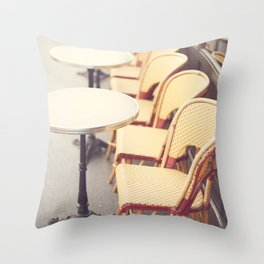 Paris Cafe, Classic Parisian coffee chairs Throw Pillow