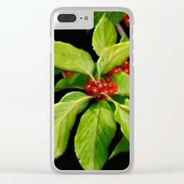 Pretty Little Red Berries Clear iPhone Case