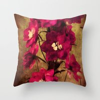 vintage flowers Throw Pillows featuring Vintage Flowers by Christine Belanger