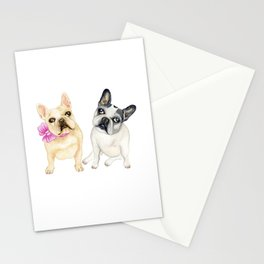 French Bulldogs adorable head tilt fawn and black and white frenchies must have gift for pet lovers Stationery Cards