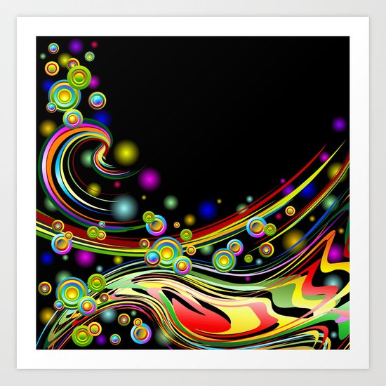 Rainbow Colors Abstract Swirls on Black Art Print