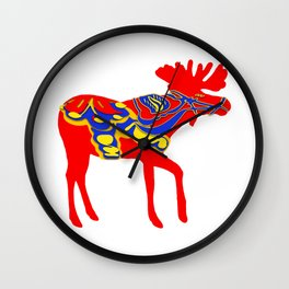 Graphic Moose 01 Swedish Dala Male Wall Clock