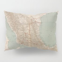 Vintage Mexico Railroad Map (1881) Pillow Sham