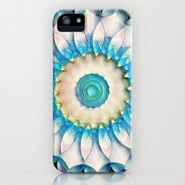 Aqua White Flower Kaleidoscope iPhone Case